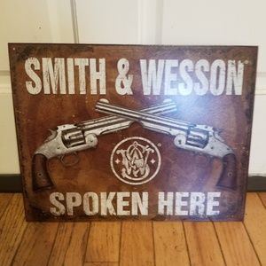 Smith and Wesson tin sign